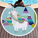 Rundes Strandtuch zum Sonnenbaden, tragbare Picknickdecke, Yogamatte, Tischdecke, Sporttuch, Alpaka 1.150 * 150 cm