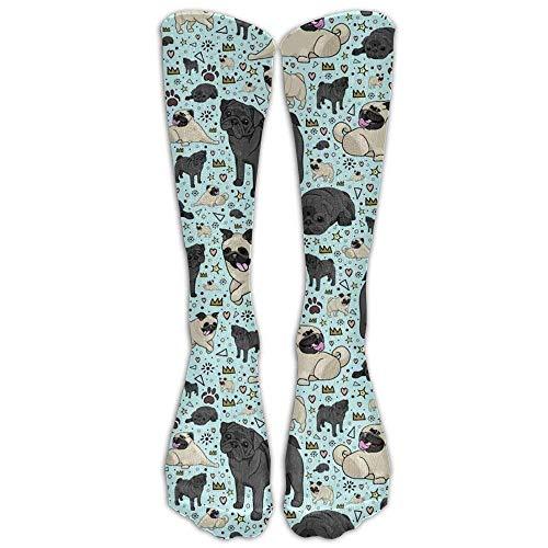 Rundafuwu Pug Life Compression Sockens Foot Long Stockings Anti Fatigue Varicose Veins Sockens For Men Women Supports Sport Running Cycling Football Slim Leg Travel Medical Nursing. 50CM (Hohe Strümpfe Oberschenkel Undurchsichtigen)