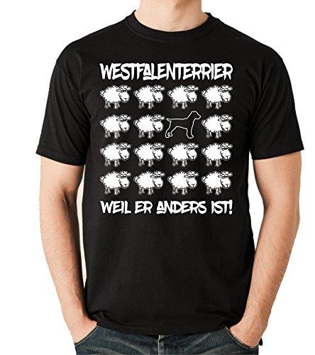 Siviwonder Unisex T-Shirt BLACK SHEEP - WESTFALENTERRIER - Hunde Fun Schaf Schwarz