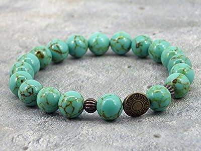Bracelet pour homme en perles de turquoise reconstituée et perles en bronze