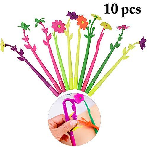 JUSTDOLIFE 10 STÜCKE Gelstift Blume Schreibfeder Tintenroller (Zufällige Farbe)