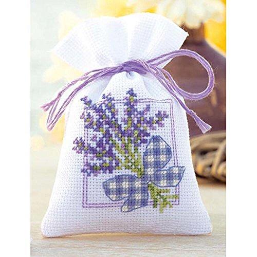 Vervaco Zählmuster Lavendel mit Schleife Kräutertütchen-Stickpackung im gezählten Kreuzstich, Baumwolle, Mehrfarbig, 8 x 12 x 0.3 cm