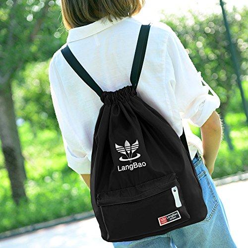 Imagen de  de cuerda, mujer/hombre, begreat bolsa plegable de tela, bolsa casual y de aptitude, para aire libre, viajes, escuela  negro alternativa