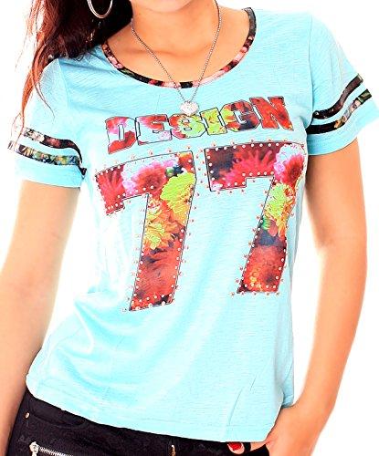 Damen Kurzarm Retro Print-Shirt mit Nieten in verschiedenen Farben Türkis