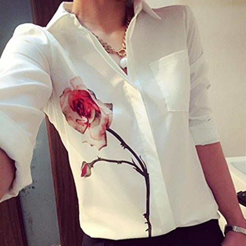 Blouse femme,Tonwalk Femmes Blouse à fleurs roses Chemises en mousseline de soie Blanc