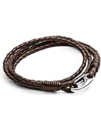 Tribal Steel 21cm Brown Leather,  Double Wrap Bracelet for Men with Stainless Steel Shrimp Clasp