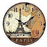 Relojes De Pared 12 Pulgadas Francia París Torre Eiffel Números Árabes Retro Europeo Americano Sala De Estar Silenciosa Silenciosa Deportes Sala De Estar Dormitorio Decoración Del Hogar Oficina Hotel