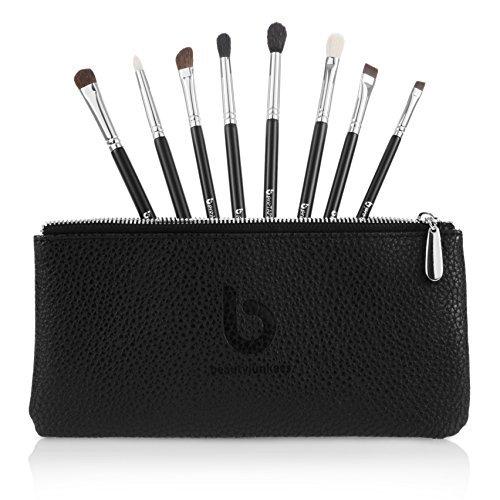 Set de Pinceaux de Maquillage pour les Yeux de Beauty Junkees   Kit de Qualité avec 8 Brosses pour Appliquer Eyeliner, Ombre à Paupières, Anticernes, Fard à Paupières et Sourcils   Trousse Offerte