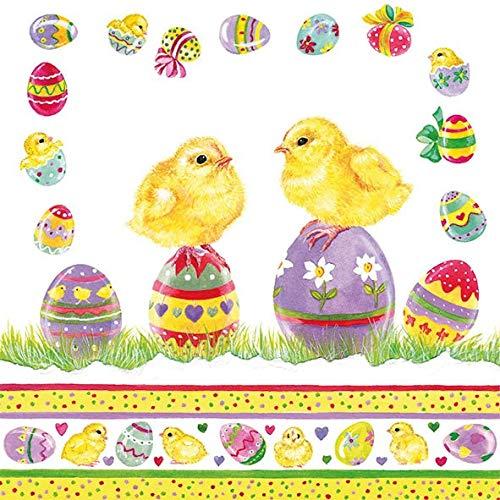 Tovaglioli–uova di Pasqua su Chicks, tovaglioli di carta a strati, 33x 33cm
