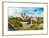 artboxONE Poster mit Rahmen Gold 45x30 cm Paris Notre Dame