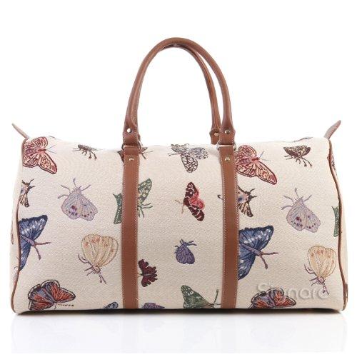 Signare grand fourre-tout bagage weekender en toile tapisserie mode femme Papillon