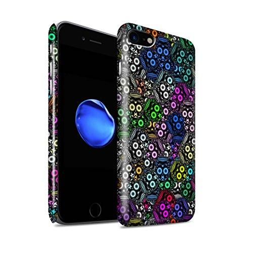 STUFF4 Glanz Snap-On Hülle / Case für Apple iPhone 8 / Türkis/Rose Muster / Süßigkeiten Schädel Kollektion Schwarz