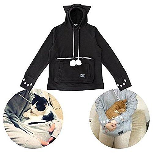 Unihabitat Kapuzenpulli Mit Beutel für Katzen und Hunde, schwarz L