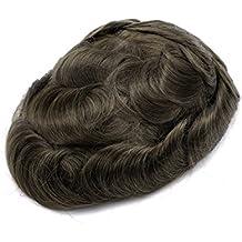 Multi-Color Echthaar Swiss Lace Herren Haarteile Piece Toupet Replacement System Slight Wave (Color ASH4)