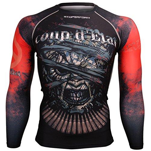 Medium Long Sleeve Top (Btoperform Herren Damen MMA Running Bedruckt Kompression Shirt Long Sleeve Top Medium - FX-108)