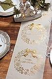 Weihnachts-Tisch-Läufer / Tisch-Decke Merry Christmas in Creme & Gold / Tisch-Dekoration / Weihnachts-Deko / Tisch-Band / Weihnachten & Advent (1 Rolle = 3 Meter)