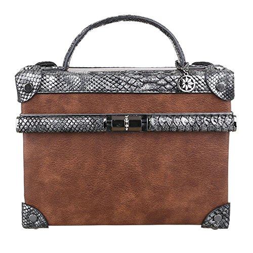 Ital-Design Damen-Tasche Kleine Handtasche Quadratische Koffertasche Kunstleder Braun TA-3824-7A