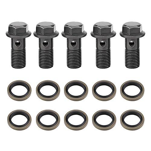 5PCS Motorrad Bremse Banjo Schrauben M10x 1.25mm, Banjo Schrauben und Beschläge, Edelstahl Banjo Bolt Dichtung Dichtungsring Bremssattel Kit für Master Zylinder (Bremssattel-dichtung)