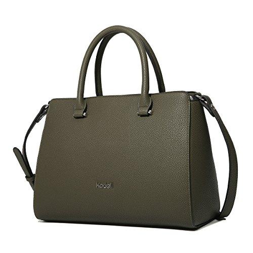 Kadell PU-Leder Handtaschen Damen Taschen Luxus Umhängetasche Top Griff Geldbörse Armeegrün