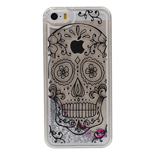 iPhone 5 5S Schwer Hülle, Fließfähige Pulver / Flüssigkeit Schön Kreativ Muster (Totenkopf) Schutzhülle Case Cover für Apple iPhone 5 5S SE 5SE Transparent Case a1