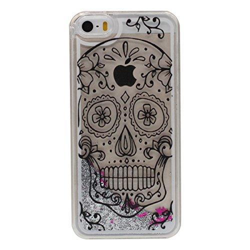 iPhone 5 5S Dur Étui de protection, Flowable Poudre / Liquide Beau Créatif Motif (Crâne) Coque de Protection Case pour Apple iPhone 5 5S SE 5SE Transparent Case a1