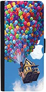Snoogg Balloon House Graphic Snap On Hard Back Leather + Pc Flip Cover Samsun...