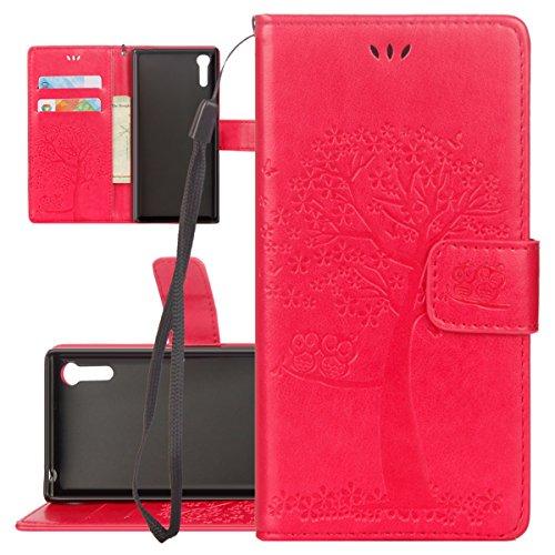 ISAKEN Custodia per Sony Xperia XZ con Strap, Elegante borsa Tinta Unita Farfalla Design in Sintetica Ecopelle PU Pelle Protettiva Portafoglio Flip Case Cover con Supporto di Stand / Carte Slot / Chiu Gatto: rossa