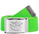 2Stoned Gürtel Canvas Belt Neon-Grün, Chromschnalle Classic, 4 cm breit, Stoffgürtel für Damen