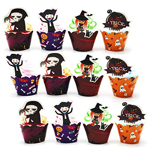Halloween Cupcake Toppers Wrapper Kuchen Picks Cupcake Liner Picks für Halloween Party Support, Dekoration, 45 Packungen (Pumpkin Spider Ghost Hexe)
