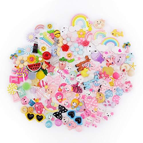 MyCreator Charm-Perlen-Set, 120 Stück, für Schleim, verschiedene Früchte, Süßigkeiten, Tiere, Schleim-Perlen mit flacher Rückseite, Kunstharz, Cabochons für DIY-Schleim, Bastelzubehör, Scrapbooking und Dekoration