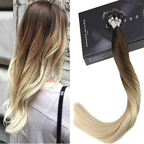 "LaaVoo 14"" #4T613 Dark Brown to Bleach Blonde Nano Tip Hair Extensions 7A Grad Brazilian Stick Tip Fusion Hair Extension 50 Gramm/Paket"
