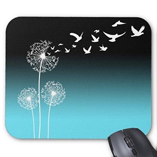 Dandelions in Birds schwarz & Teal Maus Pad
