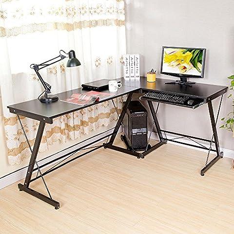 HLC 161*120*73cm Computer Desk L-Shape Corner Office Sturdy Furniture Workstation with Pull-out Keyboard Shelf Panel CPU Storage Holder