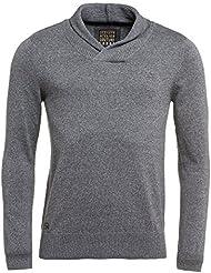 Deeluxe 74 - Pull gris col châle pour homme
