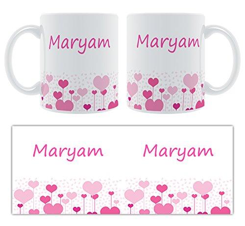Maryam – Motif cœurs – Femelle Nom personnalisable Mug en céramique