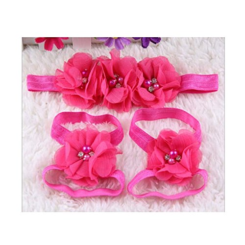 EtsiBitsi Girl's Foot Flower Barefoot Sandals + Headband Accessories Pink Color