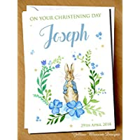 PERSONALISED On Your Christening Day Card Naming Day Baptism First Birthday Peter Rabbit Child Girl Boy Pink Blue Auntie Uncle Grandmother Grandad Mum Dad Brother Sister Friend Baby