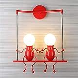 E27 Moderna Lampada da parete a LED Created Ferro Applique Applique da parete per Camera da letto Corridoio Applique a parete AC85-265V, 10W Rosso, Bianco