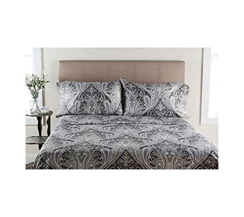 Elite Home Produkte Crystal Palace 300-thread Zählen Druckbogen Sets, Baumwolle, grau, Queen Sheet Set -