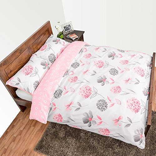 Homescapes Pink, White and Grey Floral Pattern Duvet Cover Set with Matching Housewife Pillowcases, Double