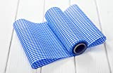 ABVERKAUF ANGEBOT: 1 Rolle Tischband Tischläufer Deko-Stoff blau-weiß kariert Polyester-Baumwoll-Mischung 10 m lang 20 cm breit - zur Tischdeko im Country Style Bayern bayerisch Karo vichy