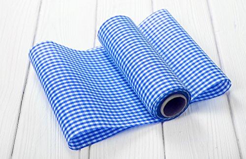 ABVERKAUF ANGEBOT: 1 Rolle Tischband Tischläufer Deko-Stoff blau-weiß kariert Polyester-Baumwoll-Mischung 10 m lang 20 cm breit - zur Tischdeko im Country Style Bayern bayerisch Karo vichy (Weiß-polyester-mischung)