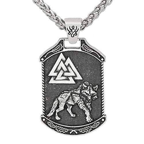 QZY Wikinger Halskette, Herren Nordic Celtic Wolf Odin Logo Amulett Retro handgefertigten Anhänger Lange Pullover Kette Flut Zubehör,Silver