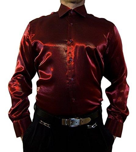 Designer stlty camicia da uomo a maniche lunghe colletto kent Bügelfei stlty camicia bianco nero blu rosso Argento Rosso