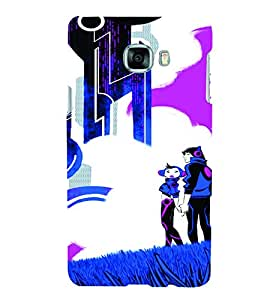 PrintVisa Cute Cartoon Couple 3D Hard Polycarbonate Designer Back Case Cover for Samsung C7