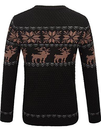 SSLR Herren Rentier Christmas Stil Langarm Feiertags Pullover Schwarz Braun