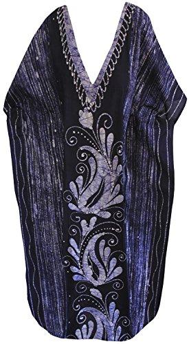 La Leela lange Kaftan Bademode Badebekleidung Baumwolle Hand Batik Frauen Nacht tragen Kleid evevning Marineblau 3
