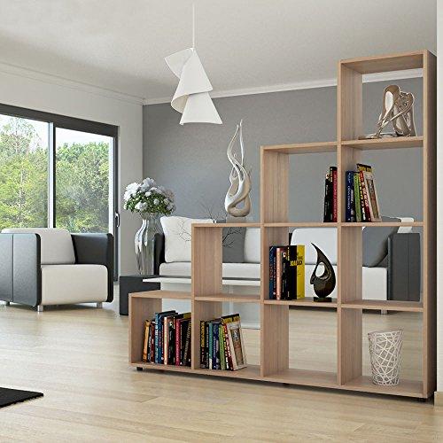 Yosoo libreria di design in legno ,scaffale mensole scaffalature di stoccaggio (quercia 10)