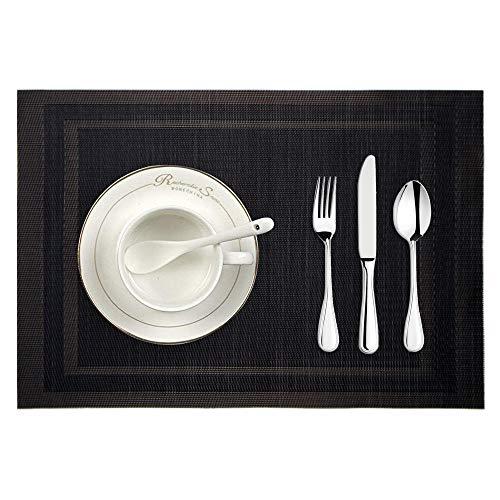 Ansenesna Platzdeckchen Abwaschbar Grau PVC Einfarbig Gewebt Tischsets Vintage Rechteckig Platzsets Schwarz Braun (Schwarz)