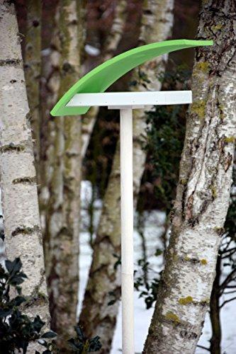"""Luxus-Vogelhaus 31003e Design-Vogelfutterhaus """"New Wave"""" in weiߟ mit hellgrünem Dach, inklusive Ständer Gesamthöhe circa 174 cm - 5"""